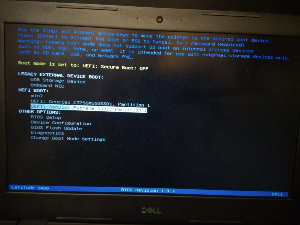 Dell 3490 Boot device selection menu